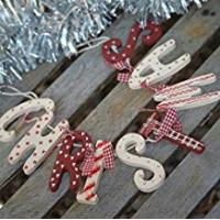 Christmas Decorations Chic Shabby Christmas Wooden Garland Red White Vintage Country Style Decoration