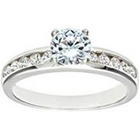 Engagement Rings Citerna Silver Cz Engagement Ring with Cz shoulders