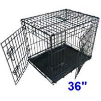 Pet Cages and Crates Ellie-Bo Dog Puppy Cage Folding 2 Door Crate with Non-Chew Metal Tray Large...