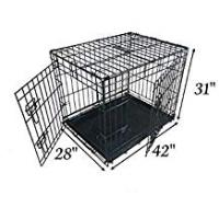 Pet Cages and Crates Ellie-Bo Dog Puppy Cage Folding 2 Door Crate with Non-Chew Metal Tray Extra Large 42-inch Black