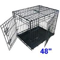 Pet Cages and Crates Ellie-Bo Dog Cage Folding 2 Door Crate with Non-Chew Metal Tray XXL 48-inch...