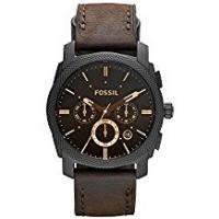 Fossil Watches FOSSIL Machine Mid-Size Chronograph Brown Leather Stainless Steel Watch – Analogue Men's Watch with Quartz Movements – Stopwatch and Timer Functionality