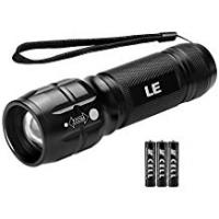 LED Flashlights Lighting EVER Adjustable Focus CREE LED Flashlight, Super Bright, Batteries Included