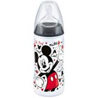 Disney Infant Bottles NUK Disney Mickey Mouse First Choice+ Baby Bottle, 6-18 Months, 300ml, Black (designs may vary)