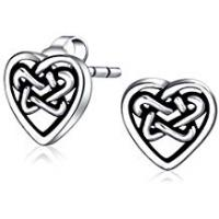 Bling Jewelry Friends Hearts Cletic Knot Heart Love Stud Earrings Filigree 925 Sterling Silver 10mm