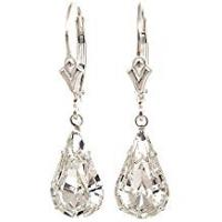 Earrings pewterhooter 925 Sterling Silver lever back earrings expertly made with teardrop diamond white crystal from SWAROVSKI® for Women