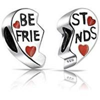 Bling Jewelry Sterling Silver Red Heart Charm Best Friends Bead Set