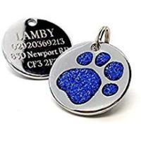 Dog Tags Personalised Engraved 25mm Glitter Blue Paw Print Dog Pet ID Tag Disc.......TO LEAVE ENGRAVING DETAILS PLEASE READ PRODUCT DESCRIPTION LOWER DOWN THIS PAGE.