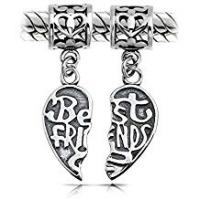 Bling Jewelry Best Friends Heart Shaped Dangle Set Charm Bead .925 Sterling Silver