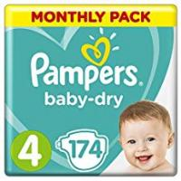 Pampers - Baby Dry - Diapers Size 4 (9-14 / 8-16 kg) - 1 Month Pack, 174 diapers