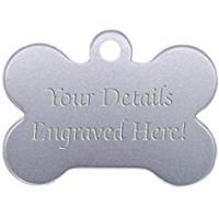 Dog Tags Bone Shaped Pet Tags - 38mm Wide - 9 Colours To Choose From, Free Engraving (Silver)