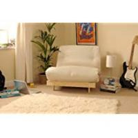 Futons 2ft6 Small Single Wooden Futon Set with Natural Cream Mattress