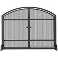 Blue Rhino Fireplace Screens UniFlame Single Panel Black Screen with Doors and Rivets