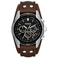 Fossil Watches FOSSIL Coachman Chronograph Brown Leather Watch – Analogue Men's Watch with Quartz Movements and Black Dial - Stopwatch, Tachymeter and Timer Functionality