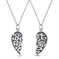 Bling Jewelry Best Friends Forever Split Heart Pendant Sterling Silver Necklace Set 16 Inches