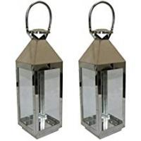 JVL Pair of Stainless Steel Hampton Indoor/Outdoor Candle Light Lanterns Large