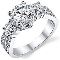 Engagement Rings Ultimate Metals Co. 1.50 Carat Round Cubic Zirconia Past, Present, Future Sterling Silver 925 Wedding Engagement Ring