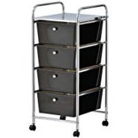 Furniture Manufacturers VonHaus 4 Drawer Storage Trolley | For Home Office Stationery and Organisation or Salon, Make-up, Hairdressing & Beauty Accessories | Mobile Design with 4 Tier Shelving and Castor Wheels | Black