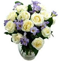 Flowers Clare Florist Breathtaking Amethyst Bouquet with FREE Delivery - Fresh Rose and Freesia Flowers Perfect for Birthdays, Anniversaries and Thank You Gifts