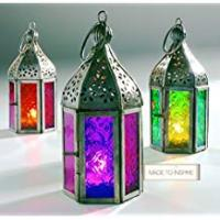 Lanterns Set of 3 Moroccan Tonal Glass Tea Light Lanterns