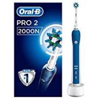 Electric Toothbrushes Oral-B PRO 2 2000N - CrossAction Electric Toothbrush Rechargeable Powered by Braun (Packaging May Vary) , 1 Handle, 2 Modes Including Gum Care, 1 Toothbrush Head, (UK 2-Pin Bathroom Plug)