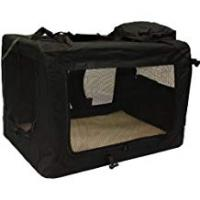 Pet Cages and Crates Mool Lightweight Fabric Pet Carrier Crate with Fleece Mat and Food Bag - Large (70 x 52 x 52 cm), Black