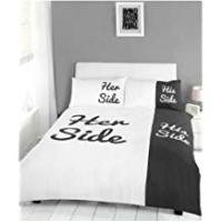 Pillow Cases For Couples Viceroybedding His and Her Side Couples Black Duvet Quilt Cover & Pillow Cases Set, Double Bed Size