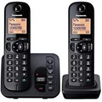 Cordless Phones Panasonic KX-TGC222EB Digital Cordless Phone with LCD Display - Black (Pack of 2)