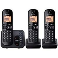 Panasonic 51739 Digital Cordless Phone with LCD Display - Black, Pack of 3