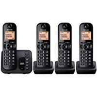 Panasonic KX-TGC224EB Digital Cordless Phone with LCD Display - Black, Pack of 4