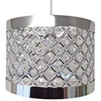Shades COUNTRY CLUB Sparkly Ceiling Pendant Light Shade Fitting, Plastic/Metal, Silver