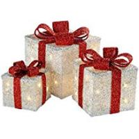 WeRChristmas Gift Box Silhouette with 35 Warm White LED Lights and Tinsel Christmas Decoration - White, Set of 3