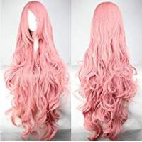 Animes Womens Ladies Girls 100cm Pink Color Long Curly Wigs High Quality Hair Carve Cosplay Costume Anime Party Bangs Full Sexy Wigs