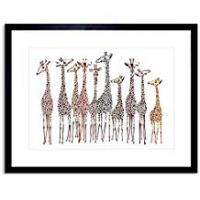 Wee Blue Coo Dt Group Of Giraffes Photo Framed Wall Art Print