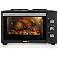 Ovens Tower T14014 Stainless Steel Mini Oven with Double Hotplates and Rotisserie, 42 Litre, Black