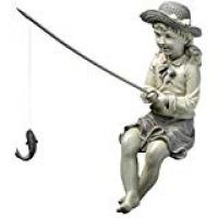 Independences For Boys Friends Design Toscano Big Catch Fisherwoman Girl Fishing Garden Statue, 28 cm, Polyresin, Two Tone Stone