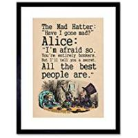 Prints Wee Blue Coo Alice In Wonderland Framed Art Print Mad Hatter Tea Party Quote Poster Gift With Wall Hangers