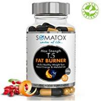 Diet Pills SOMATOX T5 FAT BURNER ★ Ultimate Max Strength ★ Natural Weight Loss • Burn Fat • Slimming Diet Pills • Boost Energy • Thermogenic Supplement ★ Max Strength 1300mg / 90 Veg Caps 30 Day Supply ★ Made UK