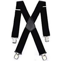 Braces Durable 50MM Wide Black Elastic and Adjustable Mens Trouser Braces Suspenders X shape with Strong Metal Clips - Heavy Duty