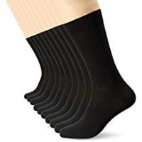 Mens Black Socks (10 Pack) FM® Comfortable, Everyday, Breathable Calf Socks - Plain, Smart Design with Elastic Cuff