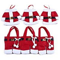 Christmas Decorations 6pcs Santa Suit Christmas Cutlery Holders xmas Table Decoration Place Setting Gift By BWB