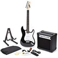 Electric Guitars RockJam Full Size Electric Guitar Superkit with Amp, Strings, Tuner, Strap, Case and Cable - Black