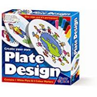 4m Toys For 7 Year Boys Create Your Own Plate Design - Markers - Girls Boys Kids Children - Arts & Crafts Activity Set - Best Selling Birthday Present Gift Fun Toys & Games Idea Age 3+