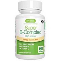 Vitamins Super B-Complex - High Strength B Vitamins with folate, B6 & B12 plus vitamin C, 60 tablets