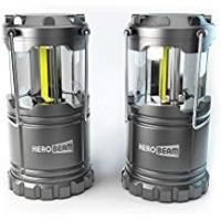Lanterns HeroBeam 2 x LED Lantern - Latest COB Technology emits 300 LUMENS! - THE ORIGINAL Collapsible Tough Lamp with Magnetic Base - Great Light for Camping, Fishing, Shed, Festivals - (TWIN PACK)