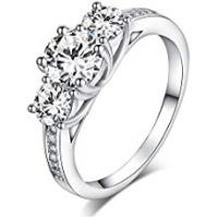 Engagement Rings Sreema London 925 Sterling Silver Brilliant Round Cut Crystals Engagement / Wedding Ring