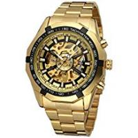 Fake Watches GuTe Fashion X Dial Skeleton Automatic Mechanical Wrist Watch Gold Black
