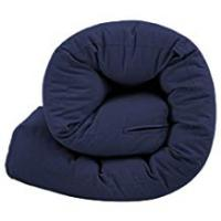 Futons Quality Tufted Sleepover Futon Guest Mattress in 100% Cotton Cover - 1 Seater Navy Blue