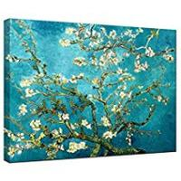 Print Wieco Art - Almond Blossom Modern Framed Floral Giclee Canvas Prints By Van Gogh Famous Oil Paintings Reproduction Flowers Pictures on Canvas Wall Art Ready to Hang for Bedroom Home Decorations