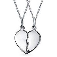Bling Jewelry Split Heart Friendship Pendant Sterling Silver Necklace Set 16 Inches